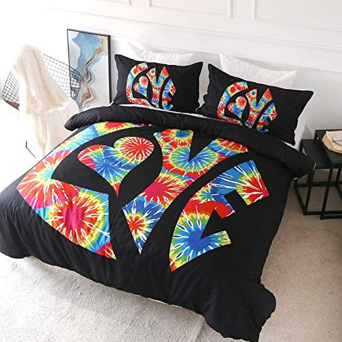 Bxooaceo Bedding Sets 3D King size 220 x 230 cm Printing Duvet Cover for Girl Comforter Bedding Sets King Queen Size Bed Line + 2 Pillowcase 50 X 75 cm Boho colorful watercolor graffiti alphabet pat