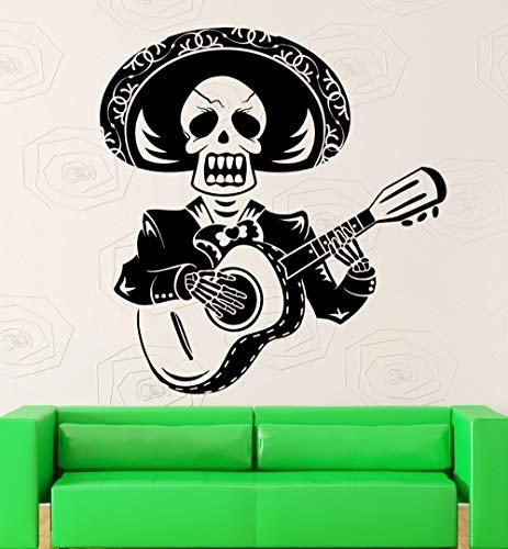 hetingyue muursticker met doodshoofd, creatief, design heren, gitaar, Mexicaans, Mexicaans, belletje, met strohoed, vinyl, wanddecoratie