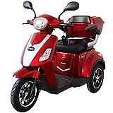 Rolektro E Trike 25 V 2 Rot Dreirad Elektroroller 1000W 25 Km H RW 50KM Stockhalter Koffer USB EU Zulassung