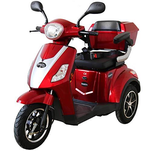 Rolektro E Trike 25 V 2 Rot Dreirad Elektroroller 1000W 25 Km H RW 50KM Stockhalter Koffer USB EU Zulassung*