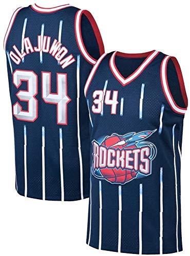 WSUN Camisetas De Baloncesto De La NBA para Hombre - Hakeem Olajuwon Camiseta De Baloncesto NBA 34# Houston Rockets Camiseta Deportiva Sin Mangas Transpirable De Ocio,XL(180~185CM/85~95KG)