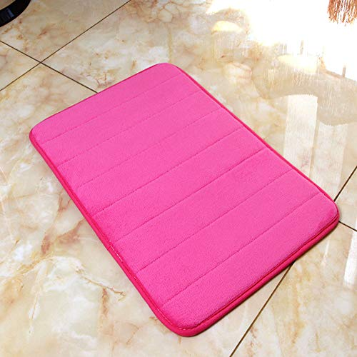 Memory Foam Bath Mats Non-Slip Bathroom Rugs Carpet Super Soft Coral Fleece Bath Mat Water Absorbent Fast Dry Soft Comfortable Stylish (15'x24', Rose Red)