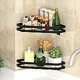 PINNIYOU Shower Corner Shelf, Spice Rack Hanging Basket, Bathroom Shower Caddy Organizer for Kitchen Toilet, No Drilling 2Pcs Bathroom Corner Shelves Shower Caddies(Black)