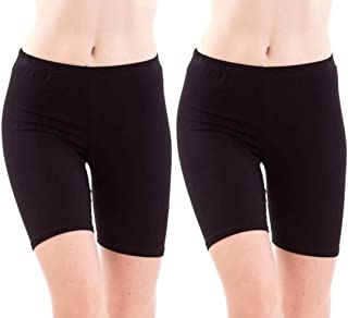 DIXCY Cotton Plain Cycling Shorts for Women (Pack of -2)