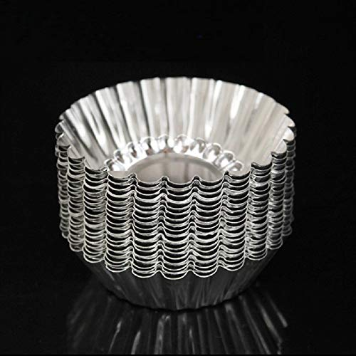 50pcs Aluminum Egg Tart Mold Cupcake Cake Cookie Tin Reusable Nonstick Small Round Muffin Baking Cups Torte Souffle Cheesecake Pie Chocolate Jelly Pudding Pan Fluted Baking Tool, Food Grade