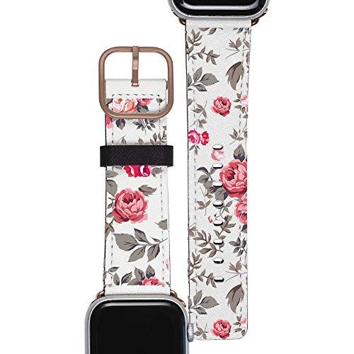 Gocase Armband met rode rozen, goudkleurig, compatibel met Apple Watch 42/44 mm, verstelbare sluiting, saffiano leer, veganistisch vervangingsarmband, waterzweetbestendig, geschikt voor Series 1/2/3/4
