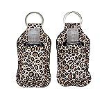 Loxie 2 Piece Keychain Hand Sanitizer Holder with 1 oz Travel Size Refill Plastic Bottle (Leopard)