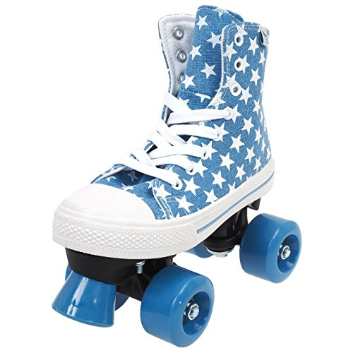 Rookie Rollerskates Canvas High (Stars Blue White) Gr. 33