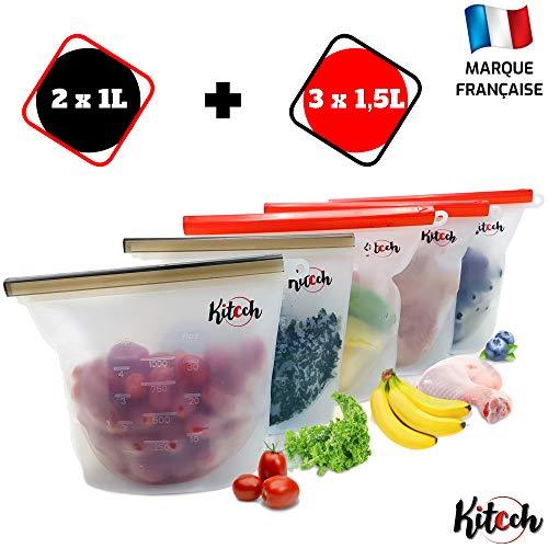 Kitcch Sac Congelation réutilisable - Silicone, Zip, sans BPA, Etanche - Conserver Vos Aliments - adapté au réfrigerateur, Micro Onde, Lave Vaisselle