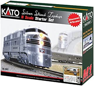 Kato USA Model Train Products N CB&Q Streak Zephyr UNITRACK Starter Set, Silver