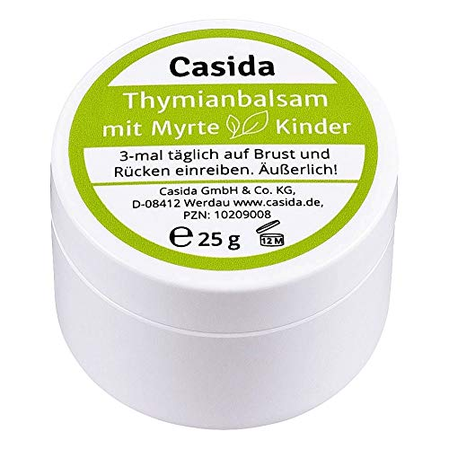 Casida - Baume Thym-Myrte pour Enfants - baume pectoral naturel - sans huile minérale, sans menthe, sans eucalyptus et camphre - la qualité des pharmacies - 25g