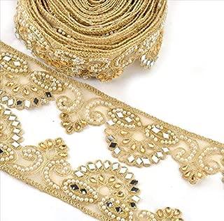 BridalMary Hand Beaded Dress Bridal DIY Wedding Sash Applique 1 YD Golden Craft La.