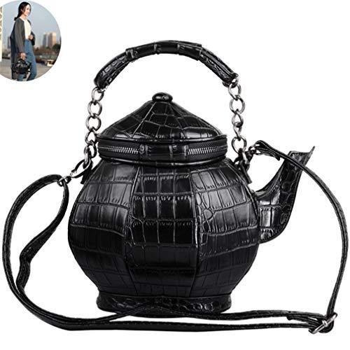 DUBAOBAO Schoudertas met theepot vorm, lederen handtas voor vrouwen, grappige gothic feesttas, mode zwarte tas, messenger tassen voor vrouwen
