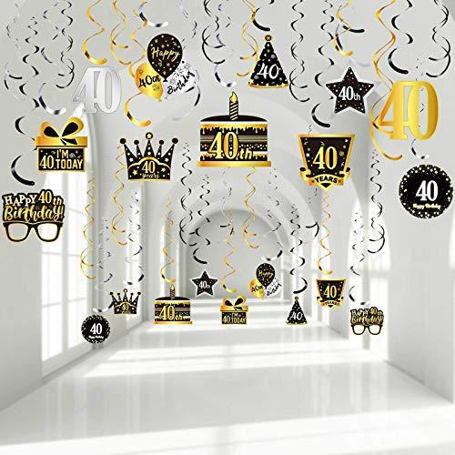 30 Remolinos Colgantes de Cumpleaños 40, Remolinos de Papel Aluminio de Techo Señal de Globos Corona Pastel Gafas de Feliz Fiesta 40 Plata Dorado Negro para Decoraciones Niños 40 años