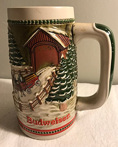 2005 Budweiser Clydesdale Collectible Holiday Beer Stein with Covered Bridge