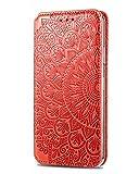 SCRENDY Funda para Xiaomi Redmi Note 10 Pro, [Vintage de Billetera Cuero de la PU] Magnético Carcasa con Tapa Abatible y Ranuras para Dinero y Tarjeta de Crédito - Rojo