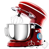 COSTWAY Stand Mixer, 6.3-Qt 660W 6-Speed Electric Mixer with Stainless Steel Bowl, Tilt-Head Food Mixer with Dough Hook, Beater, Whisk (Red)