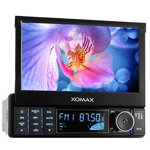XOMAX XM-VRSUN728 Autoradio / Moniceiver / Naviceiver mit GPS Navigation + NAVI Software inkl. Europa Karten (48 Länder) + Bluetooth Freisprechfunktion inkl. Telefonbuch-Import + 7 Zoll / 18 cm Touchscreen + USB Anschluss + SD Kartenslot + Aux In + Single DIN / 1 DIN Standard Einbaugröße inkl Fernbedienung, Einbaurahmen