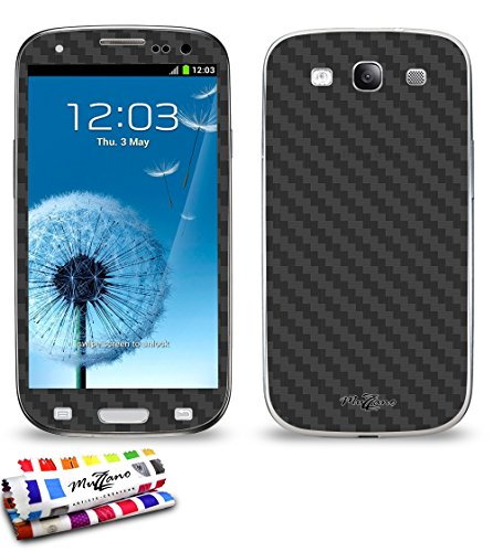 MUZZANO Wandtattoo Samsung Galaxy S3[Carbon] [schwarz] Eingabestift und Reinigungstuch angeboten–Der Schutz Kratzfest ultimative, Elegante und nachhaltige für Ihr Samsung Galaxy S3