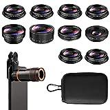 Phone Camera Lens, Cell Phone Lens Kit, 8X Zoom Lens/Fish Eye Lens 198°/Telephoto Lens 2X/15X Macro Lens/CPL Lens/Radial Lens/Kaleidoscope Lens/Filter Lens, for iPhone and Android Smartphones (10PCS)