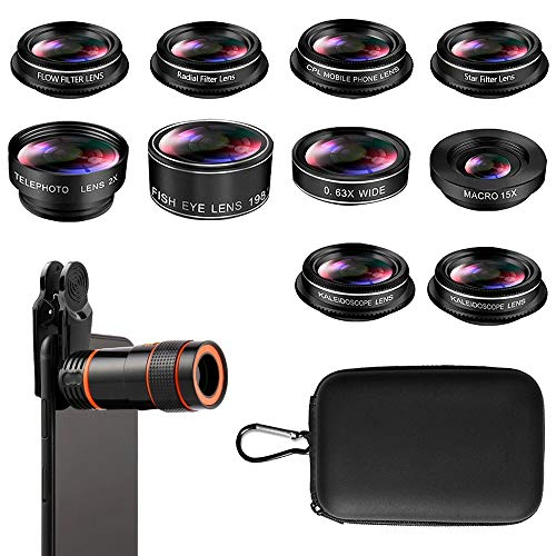 Phone Camera Lens, Cell Phone Lens Kit, 8X Zoom Lens/Fish Eye Lens 198°/Telephoto Lens 2X/15X Macro Lens/CPL Lens/Radial Lens/Kaleidoscope Lens/Filter Lens, for iPhone and Android Smartphones (10PCS)