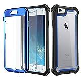 Garegce Coque iPhone 6, Coque iPhone 6s avec [2 x Protecteur d'écran en Verre Trempé], Housse TPU+PC [Antichoc] Transparent 360° Anti-Chute Armure Double Protection for iPhone 6 / 6s-4.7'- Bleu