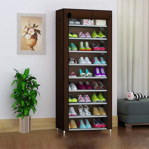 UKAILAI - Zapatero de 10 Niveles con Cubierta para hasta 30 Pares de Zapatos, Zapatero, Organizador de Almacenamiento 60 x 30 x 160 cm marrón