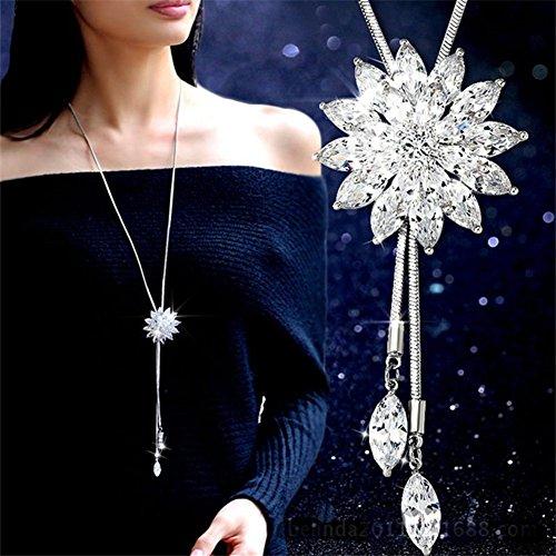 Elistelle Women Cubic Zirconia Flower Long Adjustable Chain Pendant Sweater Necklace