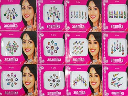 Banithani 12 piezas de diseño exclusivo indio bindis temporal regalo pegatinas tatuajes para ella