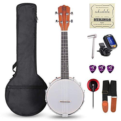Vangoa Banjo Ukulele 4 cuerdas Concierto Banjos Sapele Wood 23 Inch Banjolele Beginner Set con Bag Tuner Pickup Strings
