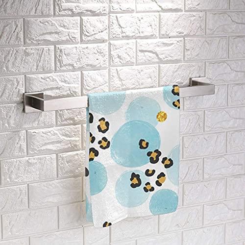 Patrón con círculos azules acuarela y cuadrados de impresión de leopardo, toalla de mano suave acogedora mini toallas de cara de tela clásica para niños niña niño 33 x 33 pulgadas 3 piezas