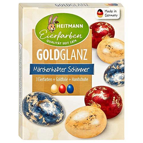 Heitmann Eierfarben Goldglanz - 3 flüssige Kaltfarben, 4 Dekorfolien - Ostern - Ostereier bemalen, Ostereierfarbe