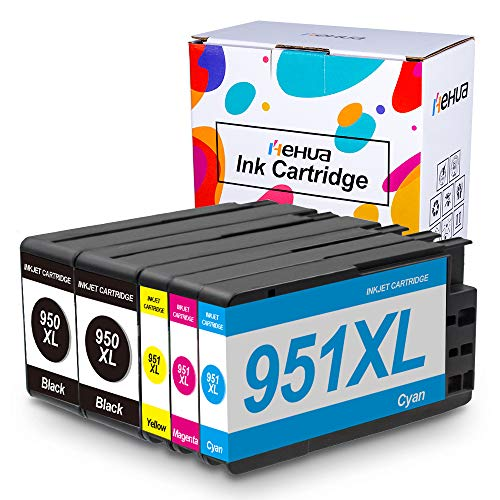 Hehua Compatible HP 950XL 951XL Cartuchos de Tinta para HP Officejet Pro 8610 8615 8600 8620 8630 8625 8640 Impresoras (2 Negro / 1 Cian / 1 Magenta / 1 Amarillo)