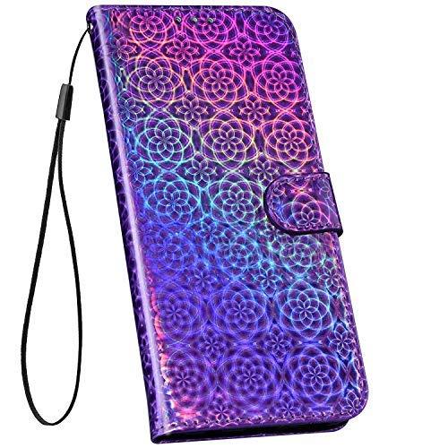 Ysimee Handyhülle kompatibel mit Huawei P20 Lite Leder, Bunt Laser Schutzhülle Brieftasche mit Kartenfach Klappbar Stoßfest Kratzfest Hülle Leder Flip Handy Tasche Schale Stylish Case