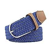 Ducomi Sails - Cinturón elástico unisex de cuerda trenzada con detalles de cuero y hebilla clásica – Longitud de 100 a 130 cm – Idea regalo Royal Blue Talla única