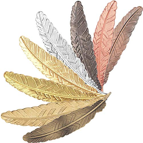 Metal Bookmark, 8Pcs Classical Exquisite Feather Bookmarks, Book Page Marker, Book Club Gifts for Women, Men and Kids- Book Marker for School Supplies Stationery