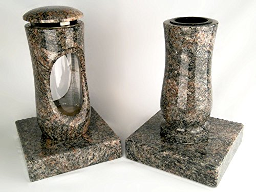 designgrab Design Small Lampe tombale avec vase et 2 pièces Socle en granite Himalaya, pierre tombale Set