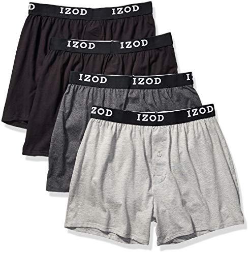 IZOD Men's 4 Pack Knit Boxer, Black/Charcoal Heather/Black/Heather Grey, L