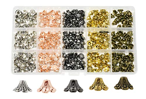 Mandala Crafts End Bead Cap, End Cap Bead Cover Assorted Set from Metal for Jewelry Making; Antique Brass, Rose Gold, Gunmetal, Silver, Gold Color Flower Cone Bell 375 PCs