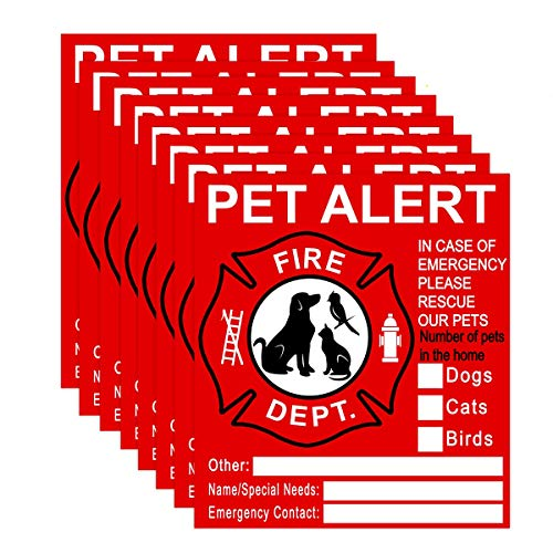 Pet Inside Sticker - 8 Pack Pet Alert Safety Fire Rescue Sticker Decal-Save Our Cat/Dog Pets In a Fire Emergency, Firefighters will See Alert on The Window, Door, or House and Rescue Our Family.