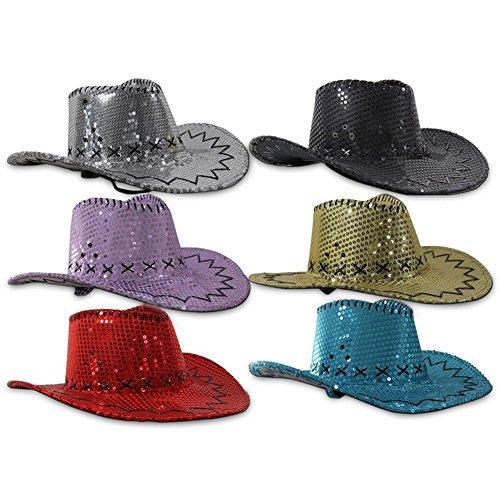 Glitzer Cowboy Hut (lila), Partyknaller, Pailettenhut, Karneval, Fasching
