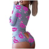 AODONG Womens Onesie Pajamas WomenS Bodycon Jumpsuit Pajamas Sexy Onesies V-Neck Button Down Bodysuit Slim Fit Women Romper