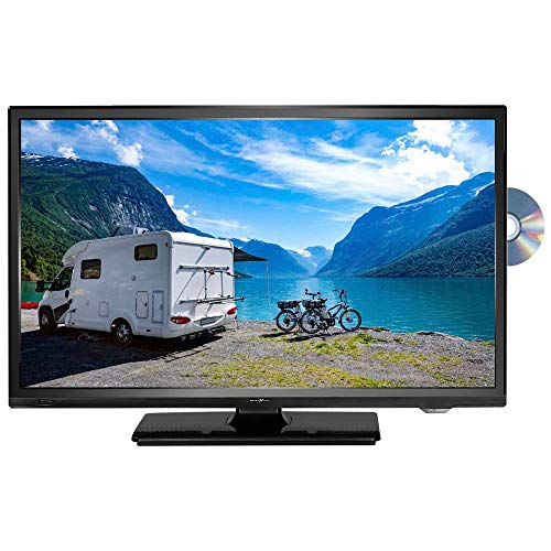 Reflexion LDDW220 Wide-Screen LED-Fernseher (22 Zoll) für Wohnmobile mit DVB-T2 HD, DVD-Player, Triple-Tuner und 12 Volt KFZ-Adapter (12 V/24 V, Full HD, HDMI, USB, EPG, CI+, DVB-T Antenne), Schwarz