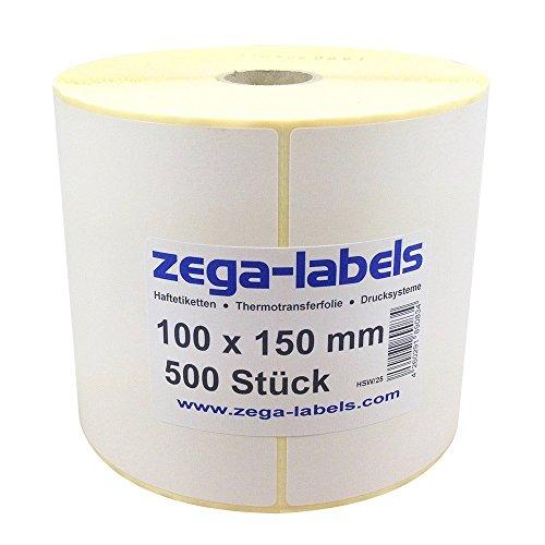 zega-labels Thermotransfer Etiketten - 100 x 150 mm - 500 Stück je Rolle - Kern Ø 25 mm - stark haftend - mit Perforation - Druckverfahren: Thermotransfer (Verwendung mit Farbband)