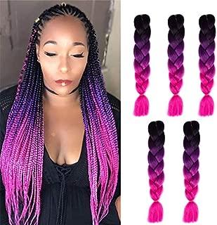 Kanekalon Ombre Braiding hair synthetic Crochet braids twist 24inch 5pcs/lot 100g Ombre two three tone Jumbo braid hair extensions Dreadlocks (black-purple-rose)