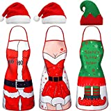 6 Pieces Christmas Apron and Hat Set, Funny Santa Aprons Elf Apron and Christmas Hats Elf Hat for Party Costume Supplies