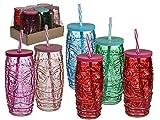 Bada Bing 6er Set Trinkglas Tiki mit Deckel und Strohhalm 600 ml Glas Cocktailgläser in 5 Farben Tiki Bar Hawaii Cocktailspartys Gläser für Draußen Südsee Feeling Urlaub Zuhause 06 - 2