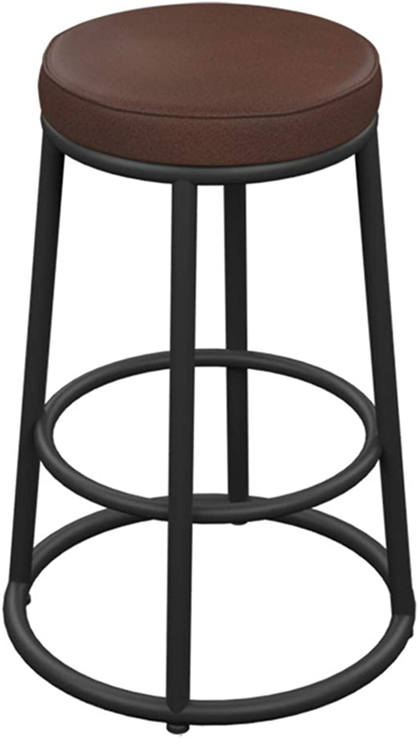 Barstools PU Leather High Stool with Footrest Retro Kitchen Breakfast Pub Counter Cafe Bar Stools, Load Bearing 200kg