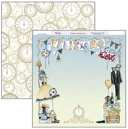 Dayka Trade Paper voor Scrapbooking, Merry Christmas Design Jaar en Klokken, Multi-Colour, One Size