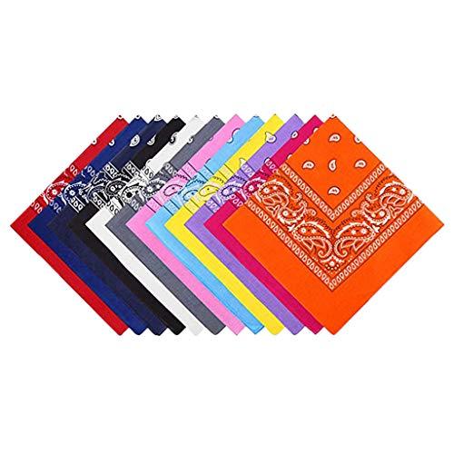 MOTOCO 9/12/18 Stück Bandana Halstücher Set für Frauen, Männer und Kinder Mischfarben Biker Kopftücher kann als Halstuch oder Schweißband(55X55CM.Orange12)